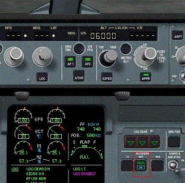 Autobrakes no cockpit