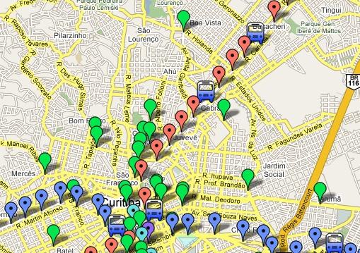 Mapa de ônibus da região