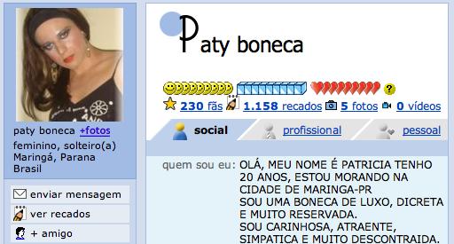 Perfil da Paty Boneca