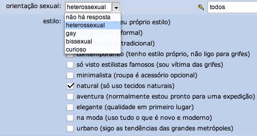 Pergunta sobre orientação sexual no perfil