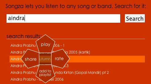 Songza, um buscador que aproveita o menu contextual centralizado
